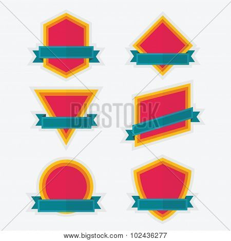 Empty colorful geometrical emblem and banners design elements set on white background