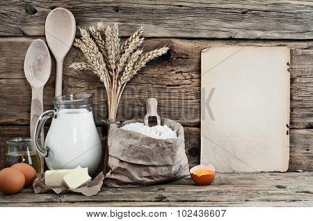 Baking Ingredients Eggs, Flour, Milk, Butter, Sunflower Oil