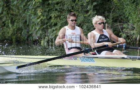 HENLEY, ENGLAND. 03-07-2010.  P.K. Reed & A. Triggs Hodge in action on day 4 of the Henley Royal Regatta 2010 held on the River Thames.