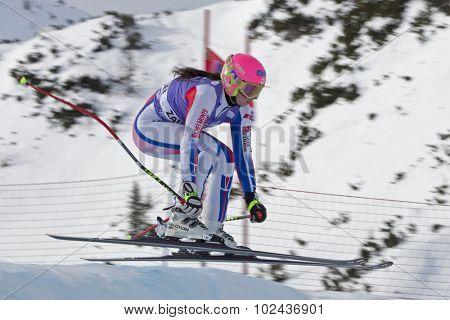 ZAUCHENSEE AUSTRIA. 06 JANUARY 2011.  Margot Bailet (FRA) takes to the air in the first training run for the downhill race part of FIS Alpine World Cup, in Zauchensee Austria.