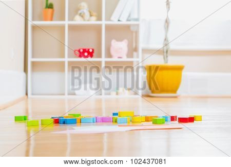 Childrens Toy Blocks Inside A Home