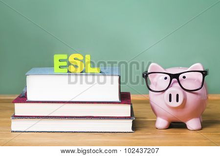 Esl Theme With Pink Piggy Bank With Chalkboard