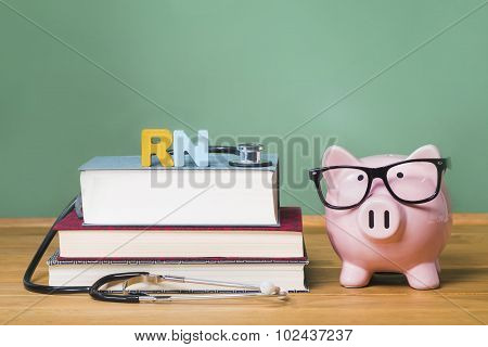 Registered Nurse Rn Theme With Pink Piggy Bank With Chalkboard