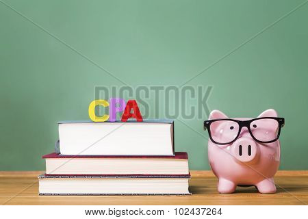 Certified Public Accountant Theme With Pink Piggy Bank