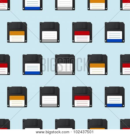 Vector modern diskette seamless icon background.