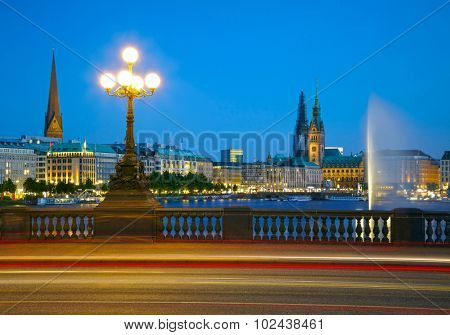 View of Hamburg city center and Alster Lake