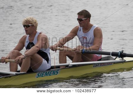 HENLEY, ENGLAND. 04-07-2010.   P.K. Reed & A. Triggs Hodge runners up in the The Silver Goblets and Nickalls Challenge Cup  on day 5 of the Henley Royal Regatta 2010 held on the River Thames.