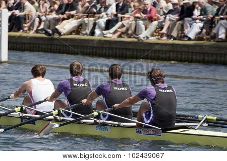 HENLEY, ENGLAND. 04-07-2010.  Reading University & Leander Club winners of the The Queen Mother Challenge Cup  on day 5 of the Henley Royal Regatta 2010 held on the River Thames.