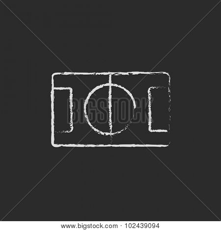 Stadium layout hand drawn in chalk on a blackboard vector white icon isolated on a black background.
