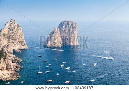 Sea Landscape. Faraglioni Rocks Of Capri Island