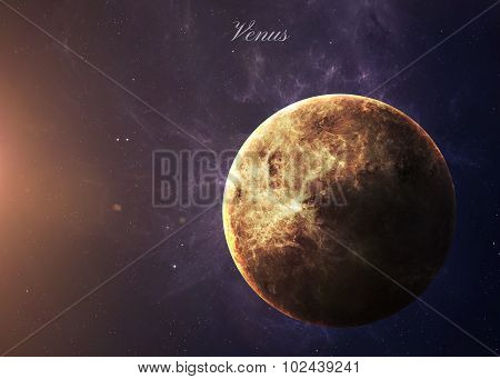 The Venus from space showing all they beauty. Extremely detailed image, including elements furnished