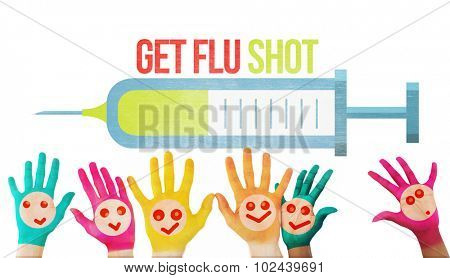 Hands with colourful smiley faces against flu shot message