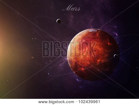 The Mars from space showing all they beauty. Extremely detailed image, including elements furnished