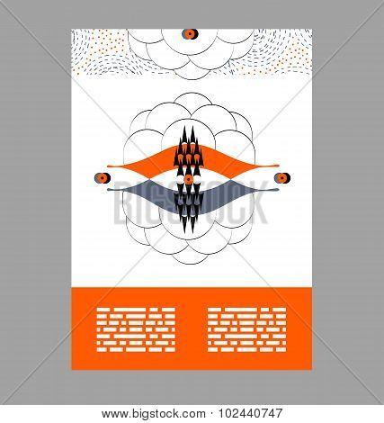 Flyer, Leaflet, Booklet Layout. Editable Design Template. Pattern Elements For Business Advertisemen