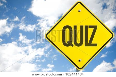 Quiz sign with sky background