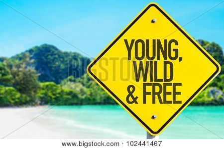 Young, Wild & Free sign with beach background