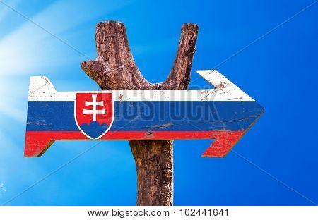 Slovakia Flag wooden sign with sky background