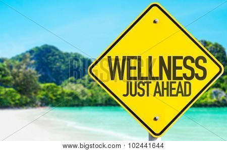 Wellness Just Ahead sign with beach background