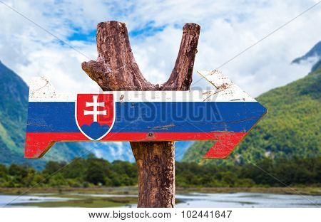 Slovakia Flag wooden sign with countryside background
