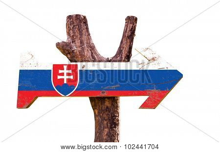 Slovakia Flag wooden sign isolated on white background