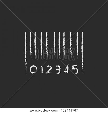 Barcode hand drawn in chalk on a blackboard vector white icon isolated on a black background.