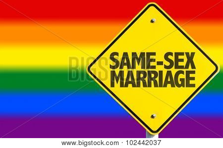 Same-Sex Marriage sign with rainbow flag on background