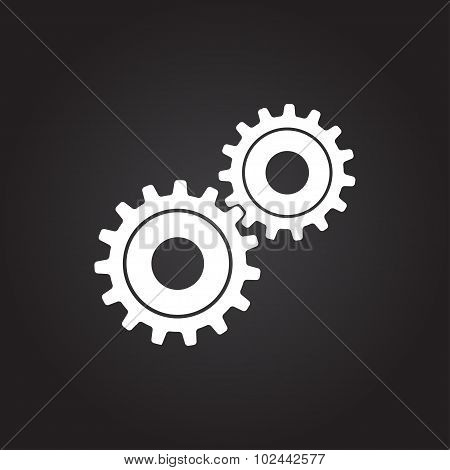 Vector cogwheel icon. Epsflat white0