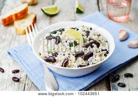 Coconut Lime Rice With Red Beans And Cilantro