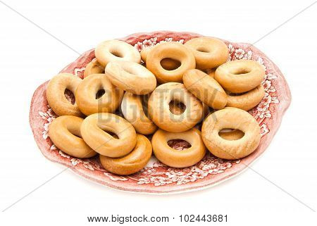 Bagels On A Pink Dish On White