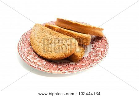 Heap Of Crackers On Glass Dish
