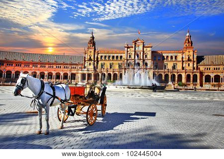 Landmarks of Spain - piazza Espana in Seville, Andalusia