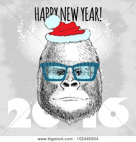 Gorilla monkey Hipster with blue glasses and Christmas hat.