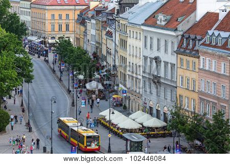 WARSAW, POLAND - JUN 2, 2015: One of the street Warsaw Old town (Stare Miasto) is the oldest historic district of Warsaw (13th century). Old town is one of most famous tourist attractions of Warsaw.