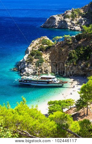 turquoise beaches of Greece - impressive Apella in Karpathos isl