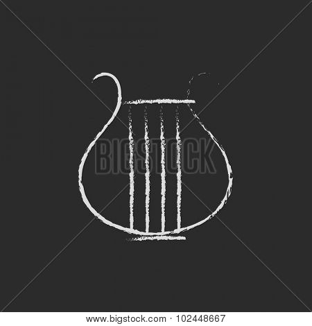 Lyre hand drawn in chalk on a blackboard vector white icon isolated on a black background.