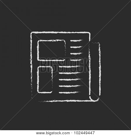 Newspaper hand drawn in chalk on a blackboard vector white icon isolated on a black background.