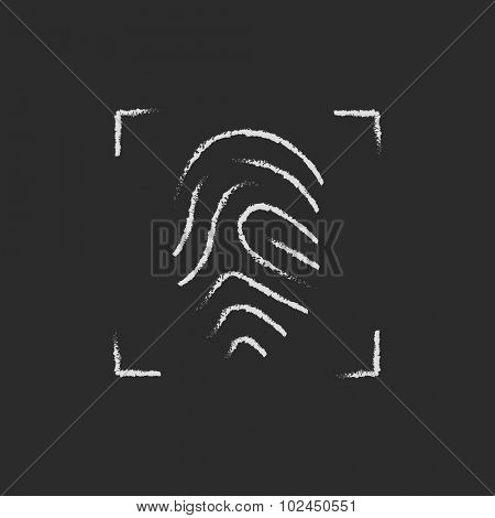 Fingerprint scanning hand drawn in chalk on a blackboard vector white icon isolated on a black background.