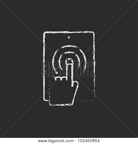 Touch screen tablet hand drawn in chalk on a blackboard vector white icon isolated on a black background. Single tap, double tap.