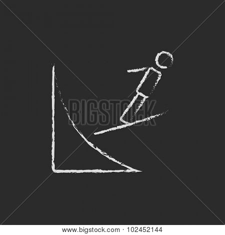 Ski jumping hand drawn in chalk on a blackboard vector white icon isolated on a black background.