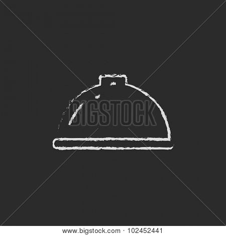 Restaurant cloche hand drawn in chalk on a blackboard vector white icon isolated on a black background.
