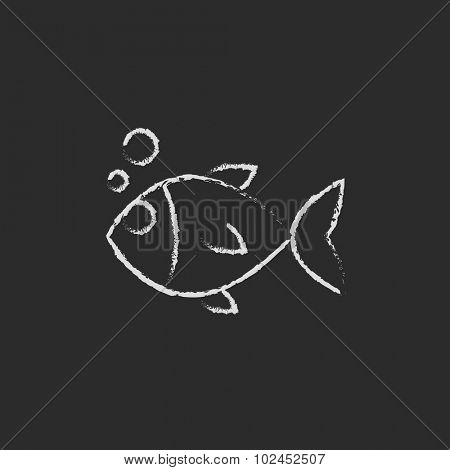 Little fish under water hand drawn in chalk on a blackboard vector white icon isolated on a black background.