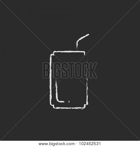 Soda can with drinking straw hand drawn in chalk on a blackboard vector white icon isolated on a black background.