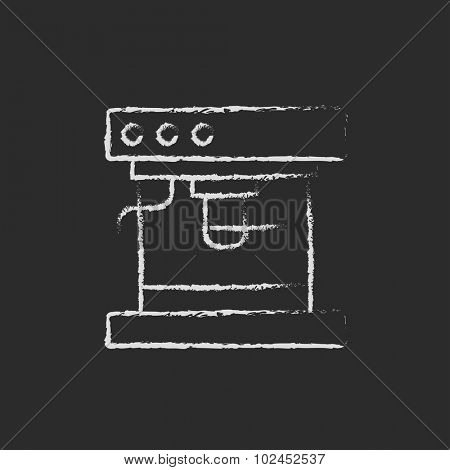 Coffee maker hand drawn in chalk on a blackboard vector white icon isolated on a black background.