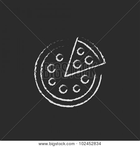 Whole pizza with a slice hand drawn in chalk on a blackboard vector white icon isolated on a black background.