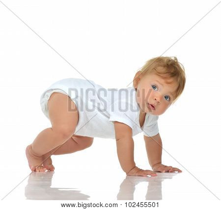 Infant Child Baby Girl In Diaper Crawling Happy Looking At The Corner