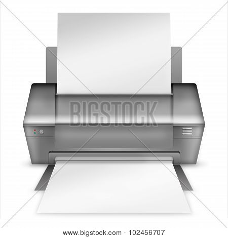 Realistic Modern Printer.