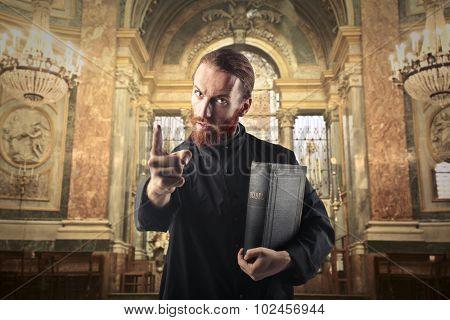 Priest warning a sinner