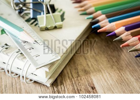 School And Office Supplies On Wood Background. Back To School.