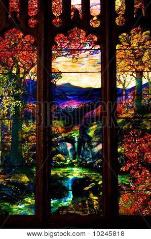 Autumn Landscape, Tiffany Window, Metropolitan Museum Of Art