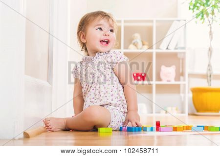 Toddler Girl With A Big Smile Playing With Wooden Toy Blocks